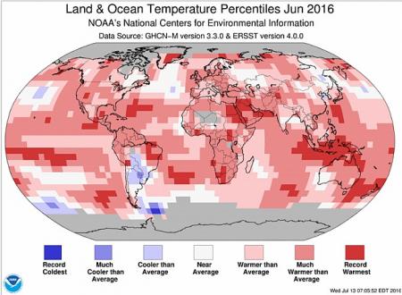 Giugno 2016 il più caldo di sempre, record frantumati. Trend inarrestabile
